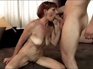 Mature,Redhead,Blowjob,Oldie Kinky mature mom licking and eating a...