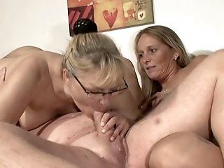 Mature,Group Sex,Blonde Mature threesome with two hot and...