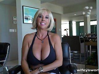 Big Tits;Cumshot;Mature;Facials;MILF;Blonde;HD Cougar With Huge...