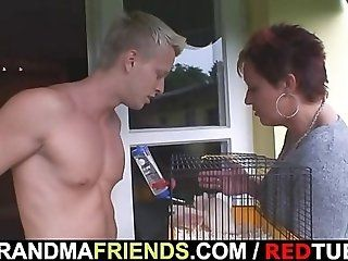 Mature;Redhead Granny allows him...