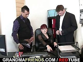 Group;Mature;Facials;Redhead Mature office...