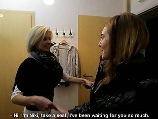 Lesbian;Mature;Blonde;HD;Casting Niki Gold with...