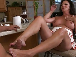 Foot Fetish;Matures;MILFs;Footjob;Old;Older Women;Older Younger;Mature Footjob;Kitchen;Young;Mother mature Margo make...