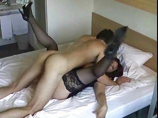 Mature couple fucks young guy