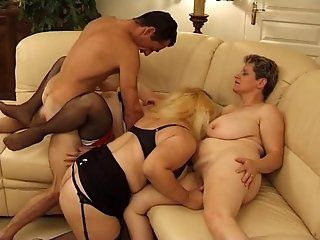 Mature,Group Sex,MILFs One lucky guy having his way with...